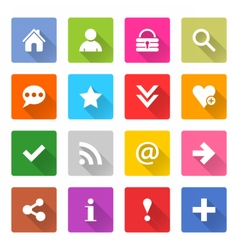 Flat basic icon set rounded square web button vector