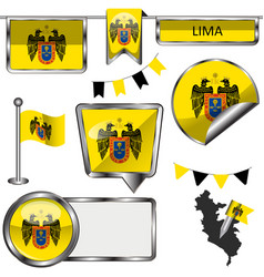 glossy icons with flag of lima vector image vector image