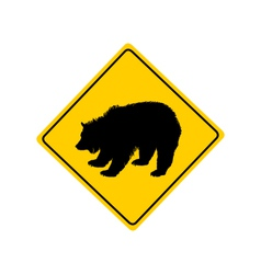 Grizzly warning sign vector image vector image