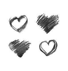 hand drawn chalk hearts vector image vector image