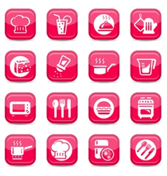 kitchen icons set vector image vector image