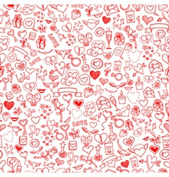Love and hearts doodles seamless background vector