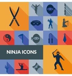 Ninja icons black set vector