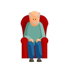 Old man sitting on chair icon cartoon style vector