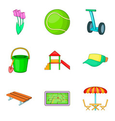 outdoor park activities icon set cartoon style vector image