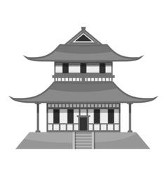 Pagoda icon gray monochrome style vector image
