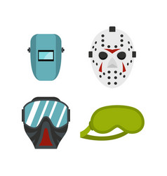 Protect mask icon set flat style vector
