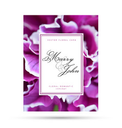 Purple fuchsia floral card for wedding invitation vector