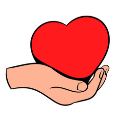 Red heart in hand icon icon cartoon vector