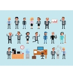 Set of pixel art people icons office work vector image