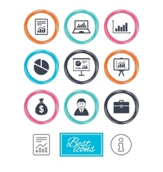 Statistics accounting icons charts signs vector