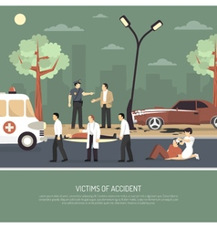 Traffic accident first aid flat poster vector