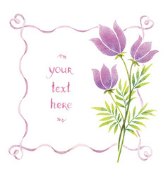 Watercolor flowers and ribbons vector