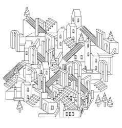 zen art outline city vector image