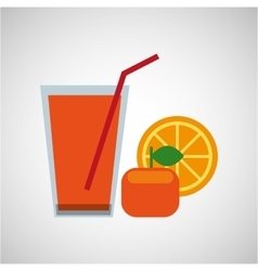 Fresh juice orange and cup glass straw design vector