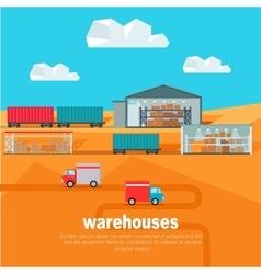 Warehouses in the dessert storehouse worldwide vector