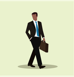 african american businessman walking with briefcas vector image