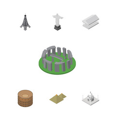 Isometric cities set of athens coliseum india vector