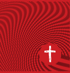 Abstract sketch waves surrounding christian cross vector