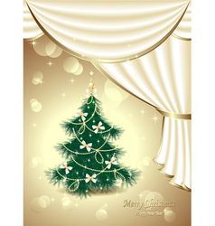 Christmas tree with bows stars garland light d vector