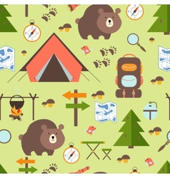 Hike in the woods seamless pattern vector
