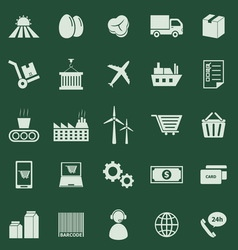 Supply chain color icons on green background vector image