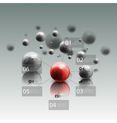Spheres in motion on gray background red sphere vector