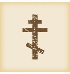 Grungy orthodox cross icon vector image