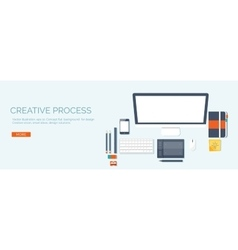 Flat header workplace vector