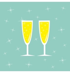 Champagne glasses with sparkles greeting card vector