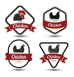 chicken label 2 vector image
