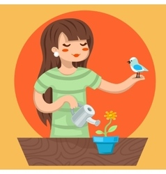Cartoon girl female woman character bird watering vector