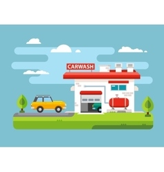 Car wash flat vector