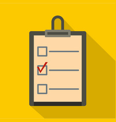 checklist with box and red mark icon flat style vector image vector image