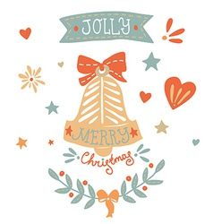 Christmas greeting card with sketchy elements vector image