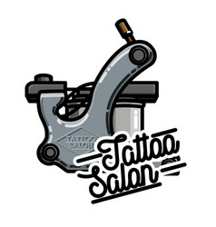 color vintage tattoo salon emblem vector image