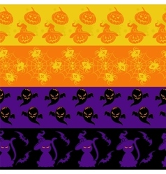 Colorful halloween seamless borders set vector image