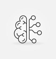 cyberbrain line icon artificial vector image