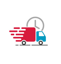 Delivery truck icon cargo van moving fast vector