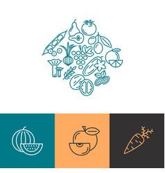 digital blue vegetable icons set vector image