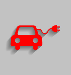 Eco electric car sign red icon with soft vector
