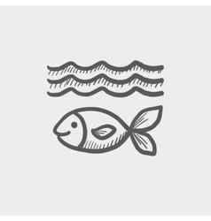 Fish under water sketch icon vector image vector image