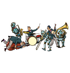 Futuristic jazz orchestra of humans and robots vector