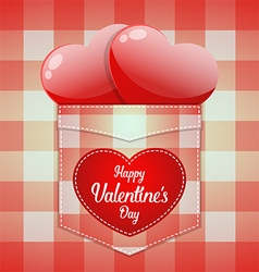 Glossy red heart in pocket with happy valentines vector