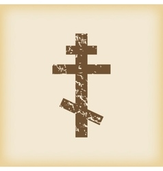 Grungy orthodox cross icon vector image