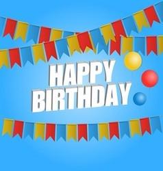 Happy birthday card carnival flag vector