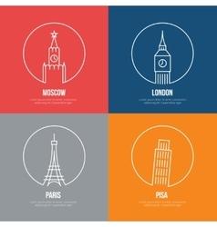 landmarks line art posters vector image