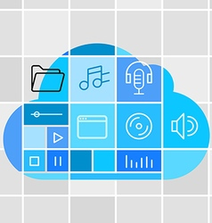 Media storage cloud technology concept vector image vector image