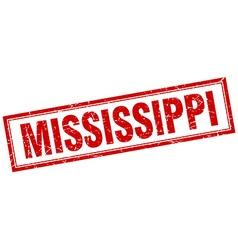 Mississippi red square grunge stamp on white vector