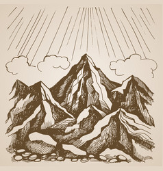 Mountains and rocks against the sky with clouds vector